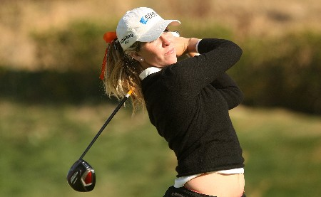 HUIXQUILUCAN, MEXICO - MARCH 15:  Taylor Leon of the USA watches her tee shot on the fifth tee during the second round of the MasterCard Classic at Bosque Real Country Club on March 15, 2008 in Huixquilucan, Mexico.  (Photo by Scott Halleran/Getty Images)