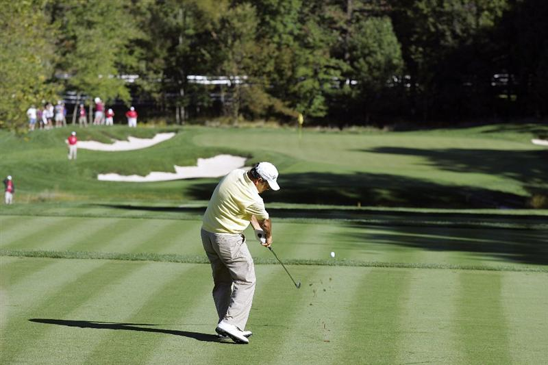 POTOMAC, MD - OCTOBER 08: David Frost of South Africa hits his tee shot on the third hole during the second round of the Constellation Energy Senior Players Championship held at TPC Potomac at Avenel Farm on October 8, 2010 in Potomac, Maryland.  (Photo by Michael Cohen/Getty Images)