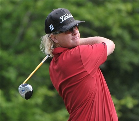 HUMBLE, TX - APRIL 06:  Charley Hoffman hits his teee shot on the 2nd hole during the final round of the Shell Houston Open at Redstone Golf Club April 6, 2008 in Humble, Texas.  (Photo by Marc Feldman/Getty Images)