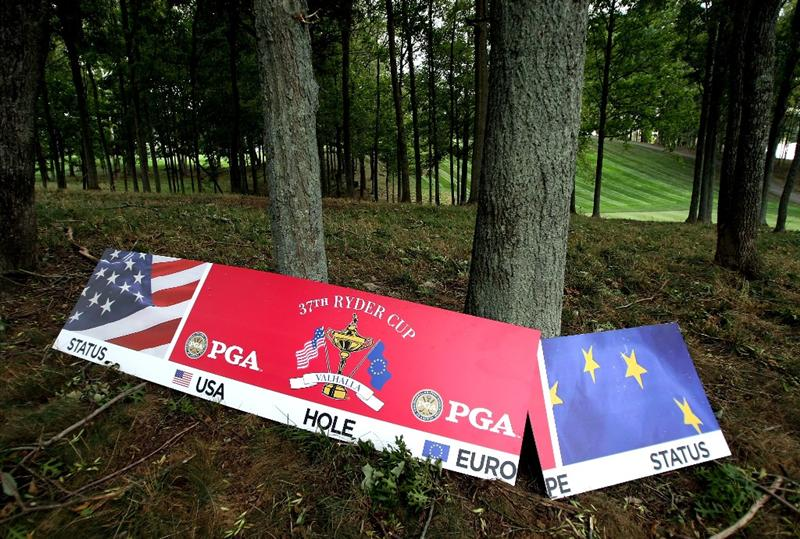LOUISVILLE, KY - SEPTEMBER 15:  Sign boards are seen on the ground after being blown over prior to the 2008 Ryder Cup at Valhalla Golf Club of September 15, 2008 in Louisville, Kentucky.  (Photo by Harry How/Getty Images)