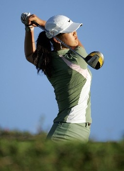 KAPOLEI, HI - FEBRUARY 21: Michelle Wie hits her tee shot on the 13th hole during the first round of the Fields Open on February 21, 2008 at the Ko Olina Golf Club in Kapolei, Hawaii. (Photo by Andy Lyons/Getty Images)