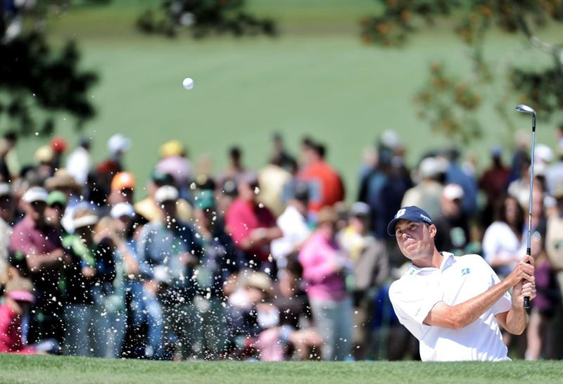AUGUSTA, GA - APRIL 09:  Matt Kuchar plays a bunker shot on the seventh hole during the second round of the 2010 Masters Tournament at Augusta National Golf Club on April 9, 2010 in Augusta, Georgia.  (Photo by Harry How/Getty Images)