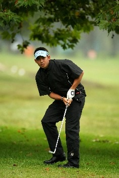JOHANNESBURG, SOUTH AFRICA - JANUARY 10:  Pablo Larrazabal of Spain plays from underneath a tree on the 10th hole on the West Course during the first round of the Joburg Open 2008 at Royal Johannesburg & Kensington Golf Club on January 10, 2008 in Johannesburg, South Africa.  (Photo by Richard Heathcote/Getty Images)