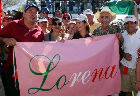 PALM DESERT, CA - OCTOBER 14:  Lorena Ochoa of Mexico celebrates with friends and fans after winning the final round of the LPGA Samsung World Championship at the Bighorn Golf Club October 14, 2007 in Palm Desert, California.  (Photo by Robert Laberge/Getty Images)