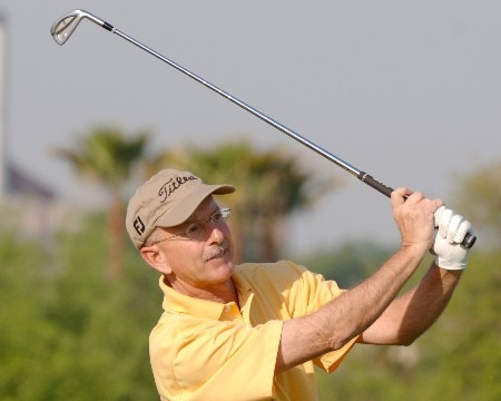 Pete Oakley drives from the eight tee during the first round of the 2005 Liberty Mutual Legends of Golf tournament at the Westin Savannah Harbor Golf Resort & Spa on April 22, 2005 in Savannah, Georgia.Photo by Al Messerschmidt/WireImage.com