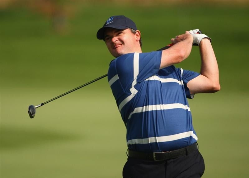 BANGKOK, THAILAND - JANUARY 09:  Paul Lawrie of Scotland in action during the foursomes on Day one of The Royal Trophy at the Amata Spring Country Club on January 9, 2009 in Bangkok, Thailand.  (Photo by Ian Walton/Getty Images)