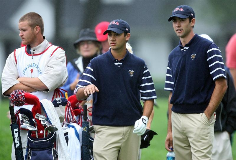 ARDMORE, PA - SEPTEMBER 12:  Adam Mitchell of the USA (left) with his playing partner Cameron Tringale on the 3rd tee during the morning foursome matches on the East Course at Merion Golf Club on September 12, 2009 in Ardmore, Pennsylvania  (Photo by David Cannon/Getty Images)