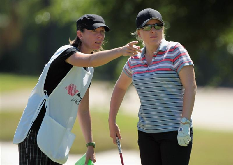 MOBILE, AL - APRIL 29:  Sarah Kemp of Australia chats with her caddie on the 11th hole during the second round of the Avnet LPGA Classic at the Crossings Course at the Robert Trent Jones Trail at Magnolia Grove on April 29, 2011 in Mobile, Alabama  (Photo by Scott Halleran/Getty Images)