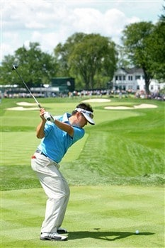 BLOOMFIELD HILLS, MI - AUGUST 06:  Charlie Wi plays a shot in front of the clubhouse during a practice round prior to the 90th PGA Championship at Oakland Hills Country Club on August 6, 2008 in Bloomfield Township, Michigan.  (Photo by Stuart Franklin/Getty Images)