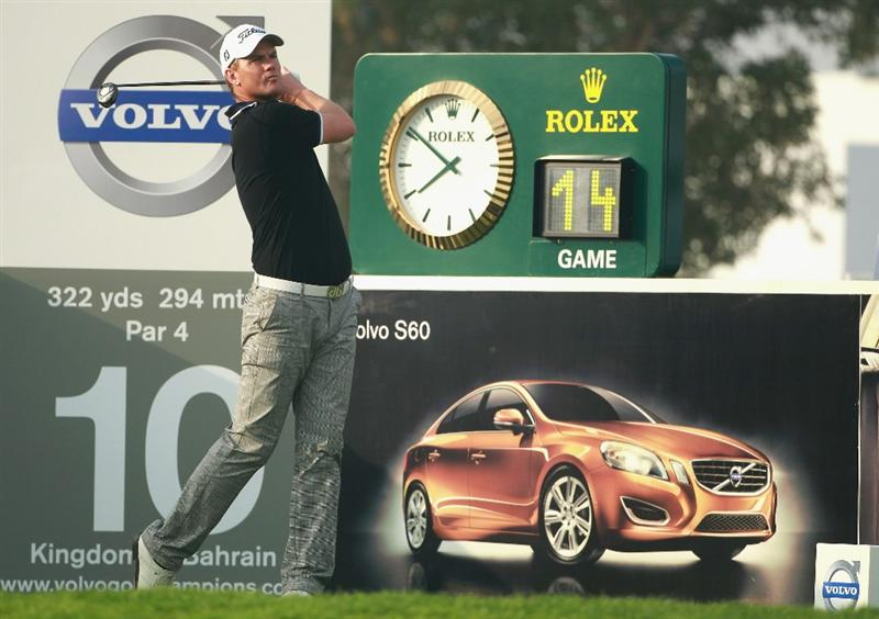 BAHRAIN, BAHRAIN - JANUARY 27:  Robert Karlsson of Sweden in action during the first round of the Volvo Golf Champions at The Royal Golf Club on January 27, 2011 in Bahrain, Bahrain.  (Photo by Andrew Redington/Getty Images)
