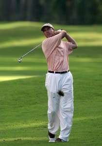 Jerry Smith hits his second shot on the 18th hole on the Palm Course during the first round of The Childrens Miracle Network Classic held at The Disney Shades of Green Resort on November 1, 2007 in Orlando, Florida, PGA TOUR - 2007 Children's Miracle Network Classic presented by Wal-Mart - First RoundPhoto by David Cannon/WireImage.com