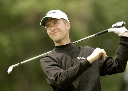 Mark Foster watches his tee shot during the second round of the 2005 Celtic Manor Wales Open at Celtic Manor's Roman Road course. June 3, 2005