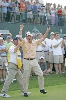 Dana Quigley celebrates after sinking a birdie putt during the playoff round of the Bayer Advantage Classic held at LionsGate Golf Course in Overland Park, KS. on June 13, 2005.Photo by G. Newman Lowrance/WireImage.com