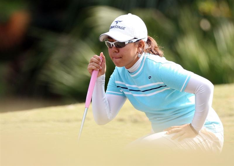 DAYTONA BEACH, FL - DECEMBER 04:  Mika Miyazato of Japan looks over a putt on the 15th hole during the second round of the LPGA Qualifying School at LPGA International on December 4, 2008 in Daytona Beach, Florida.  (Photo by Sam Greenwood/Getty Images)