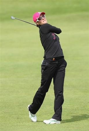 LYTHAM ST ANNES, UNITED KINGDOM - JULY 30:  Paula Marti of Spain hits her second shot on the 2nd hole during the first round of the 2009 Ricoh Women's British Open Championship held at Royal Lytham St Annes Golf Club, on July 30, 2009 in  Lytham St Annes, England. (Photo by David Cannon/Getty Images)