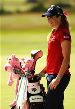 SUNNINGDALE, UNITED KINGDOM - JULY 30:  Paula Creamer of the USA stands by her bag during practice for the 2008 Ricoh Women's British Open at Sunningdale Golf Club on July 30, 2008 in Sunningdale, England.  (Photo by Warren Little/Getty Images)