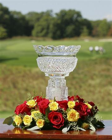 POTOMAC, MD - OCTOBER 07:  The Sam Snead Trophy is displayed on the first tee box during the first round of the Constellation Energy Senior Players Championship held at TPC Potomac at Avenel Farm on October 7, 2010 in Potomac, Maryland.  (Photo by Michael Cohen/Getty Images)
