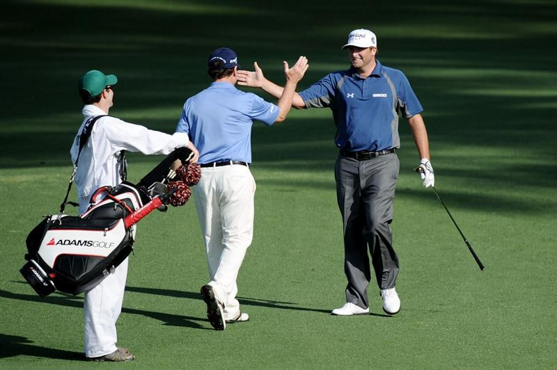 AUGUSTA, GA - APRIL 08:  Tom Watson (L) celebrates with Steve Marino after Marino holed out for eagle on the second hole during the first round of the 2010 Masters Tournament at Augusta National Golf Club on April 8, 2010 in Augusta, Georgia.  (Photo by Harry How/Getty Images)