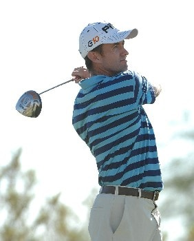 SCOTTSDALE, AZ - OCTOBER 20:  Mark Hensby tees off the 17th hole during the third round of the Fry's Electronics Open on October 20, 2007 at the Grayhawk Golf Club in Scottsdale, Arizona  (Photo by Marc Feldman/Getty Images)