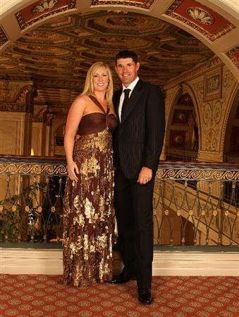 LOUISVILLE, KY - SEPTEMBER 17:  Padraig Harrington (R) of Ireland and the European Ryder Cup team poses with his wife Caroline at the Brown Hotel prior to the start of the 2008 Ryder Cup September 17, 2008 in Louisville, Kentucky. (Photo by David Cannon/Getty Images)