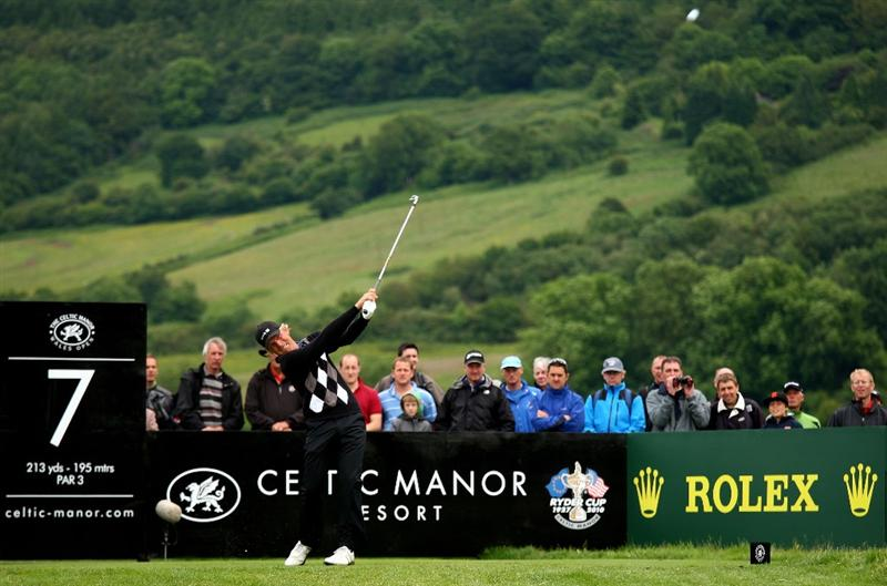 NEWPORT, WALES - JUNE 07:  Jeppe Huldahl of Denmark tee's off at the 7th during the final round of the Celtic Manor Wales Open on the 2010 Course at The Celtic Manor Resort on June 7, 2009 in Newport, Wales.  (Photo by Richard Heathcote/Getty Images)