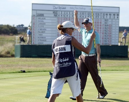 CHAMPIONS GATE, FLORIDA - DECEMBER 02:  Josh Nelson celebrates on the 18th green after he had won the 2007 Del Webb Father Son Challenge on the International Course at Champions Gate Golf Club, on December 2, 2007 in Champions Gate, Florida,  (Photo by David Cannon/Getty Images)