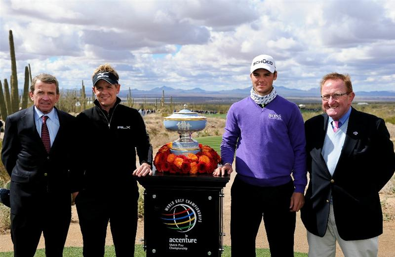 MARANA, AZ - FEBRUARY 27:  PGA TOUR Commisssioner Tim Finchem, Luke Donald of England, Martin Kaymer of Germany and Richard Hills of the European Tour all smile next to The Walter Hagen Cup trophy prior to the start of the final round of the Accenture Match Play Championship at the Ritz-Carlton Golf Club on February 27, 2011 in Marana, Arizona.  (Photo by Stuart Franklin/Getty Images)