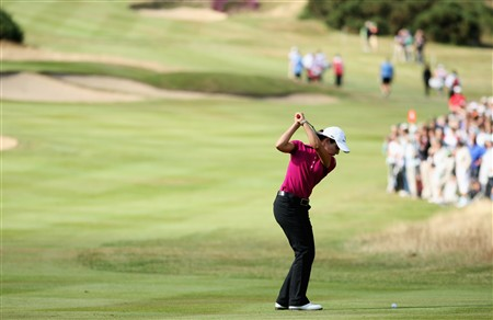 SUNNINGDALE, UNITED KINGDOM - AUGUST 01:  Lorena Ochoa of Mexico plays her second shot into the 17th green during the second round of the 2008 Ricoh Women's British Open held on the Old Course at Sunningdale Golf Club on August 1, 2008 in Sunningdale, England.  (Photo by Warren Little/Getty Images)
