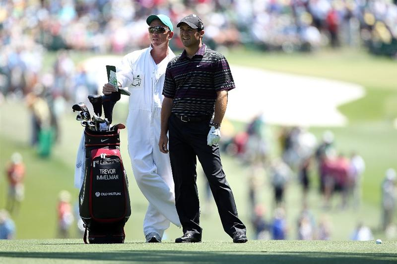 AUGUSTA, GA - APRIL 11: Trevor Immelman of South Africa (R) looks on from the first fairway with his caddie Michael Doran during the final round of the 2010 Masters Tournament at Augusta National Golf Club on April 11, 2010 in Augusta, Georgia.  (Photo by Andrew Redington/Getty Images)