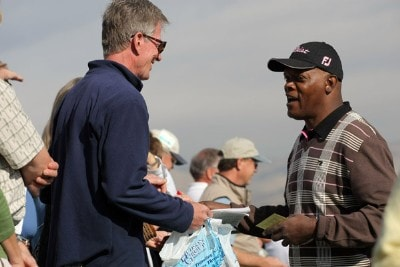 Actor Samuel L. Jackson signs an autograph during the first round of the 49th Bob Hope Chrysler Classic at the Silverrock Resort on January 16, 2008 in La Quinta, California. PGA TOUR - 2008 Bob Hope Chrysler Classic - Round OnePhoto by Harry How/WireImage.com