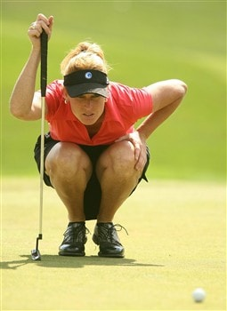REUNION, FLORIDA - APRIL 17:  Stephanie Sparks, of The Golf Channel, lines up a putt on the second green during the first round of the Ginn Open at Reunion Resort April 17, 2008 in Reunion, Florida.  (Photo by Scott Halleran/Getty Images)