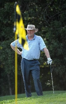 SONOMA, CA - OCTOBER 27:  Denis Watson of Zimbabwe looks on from the par three fourth hole during the third round of the Charles Schwab Championship Cup at the Sonoma Golf Club October 27, 2007 in Sonoma, California.  (Photo by Marc Feldman/Getty Images)