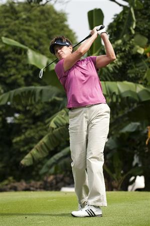 HAIKOU, CHINA - OCTOBER 29:  Solheim Cup's captain Rosie Jones of the USA tees off on the 8th hole during day three of the Mission Hills Start Trophy tournament at Mission Hills Resort on October 29, 2010 in Haikou, China. The Mission Hills Star Trophy is Asia's leading leisure liflestyle event which features Hollywood celebrities and international golf stars.  (Photo by Victor Fraile/Getty Images for Mission Hills)
