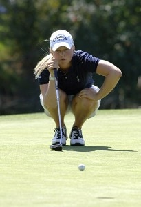 Morgan Pressel on the ninth green at Columbia-Edgewater Country Club during the second round of the Safeway Classic in Portland, Oregon on Saturday, August 19, 2006.Photo by Al Messerschmidt/WireImage.com
