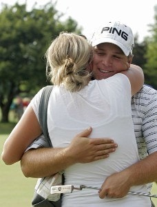 COLUMBUS, OH - JULY 15: Daniel Summerhays hugs his wife Emily after winning the Nationwide Children's Hospital Invitational on the Scarlet Course at Ohio State University Golf Club in Columbus, Ohio on July 15, 2007. (Photo by Michael Cohen/WireImage) *** Local Caption *** Daniel Summerhays Nationwide Tour - 2007 Children's Hospital Invitational - Final RoundPhoto by Michael Cohen/WireImage) *** Local Caption *** Daniel Summerhays
