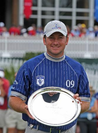 ORLANDO, FL - MARCH 17:  Graeme McDowell of Northern Ireland poses with the Payne Stewart Salver Award for the best individual score during the second day of the 2009 Tavistock Cup at the Lake Nona Golf and Country Club, on March 17, 2009 in Orlando, Florida  (Photo by David Cannon/Getty Images)