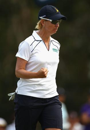 GOLD COAST, AUSTRALIA - MARCH 07:  Karrie Webb of Australia celebrates after sinking a birdie putt on the 14th hole during round four of the 2010 ANZ Ladies Masters at Royal Pines Resort on March 7, 2010 in Gold Coast, Australia.  (Photo by Ryan Pierse/Getty Images)