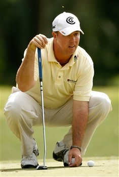 HILTON HEAD, SC - APRIL 19:  Boo Weekley lines up a putt on the fifth hole during the third round of the Verizon Heritage at Harbour Town Golf Links April 19, 2008 in Hilton Head, South Carolina.  (Photo by Streeter Lecka/Getty Images)