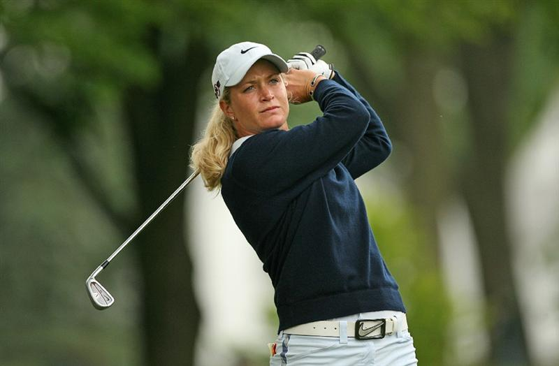 CLIFTON, NJ - MAY 16 : Suzann Pettersen of Norway hits her second shot on the 12th hole during the third round of the Sybase Classic presented by ShopRite at Upper Montclair Country Club on May 16, 2009 in Clifton, New Jersey. (Photo by Hunter Martin/Getty Images)