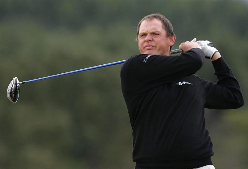 INVERNESS, SCOTLAND - AUGUST 01: Jamie McLeary of Scotland tees off from the 1st hole during the Scottish Hydro Challenge at the Macdonald Spey Valley Golf Course on August 01, 2009 in Inverness, Scotland. (Photo by Tom Dulat/Getty Images)