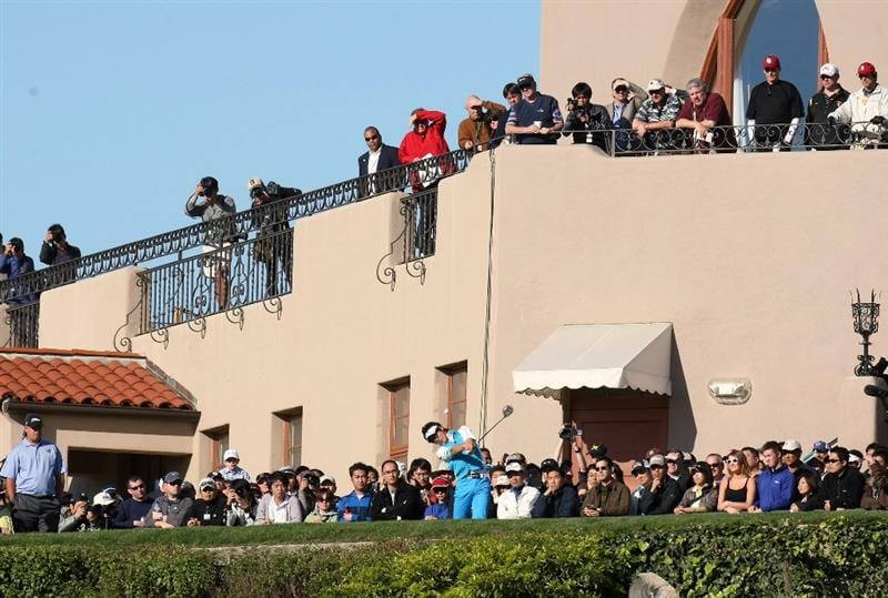 PACIFIC PALISADES, CA - FEBRUARY 19:  Ryo Ishikawa of Japan hits his tee shot on the first hole during the first round of the Northern Trust Open at Riviera Country Club February 19, 2009 in Pacific Palisades. California.  (Photo by Stephen Dunn/Getty Images)