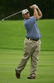 MALELANE, SOUTH AFRICA - DECEMBER 07:  John Bickerton of England plays his second shot into the 17th hole during the second round of The Alfred Dunhill Championship at The Leopard Creek Country Club on December 7, 2007 in Malelane, South Africa.  (Photo by Warren Little/Getty Images)