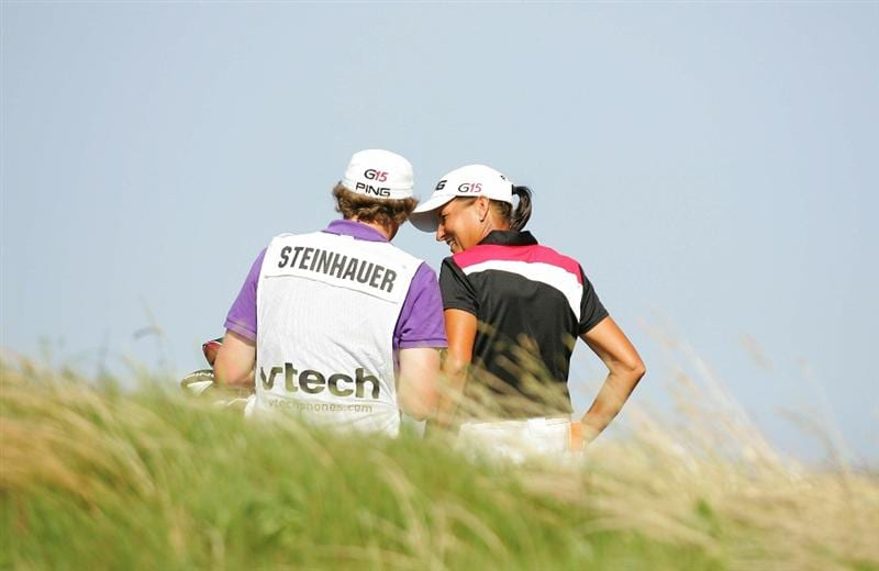 GALLOWAY, NJ - JUNE 19:  Sherri Steinhauer whispers to her caddie during the second round of the ShopRite LPGA Classic held at Dolce Seaview Resort (Bay Course) on June 19, 2010 in Galloway, New Jersey.  (Photo by Michael Cohen/Getty Images)