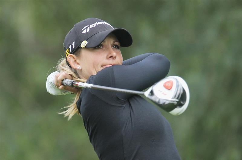 CITY OF INDUSTRY, CA - MARCH 24:  Sara Brown watches her tee shot on the 14th hole during the first round of the Kia Classic on March 24, 2011 at the Industry Hills Golf Club in the City of Industry, California.  (Photo by Scott Halleran/Getty Images)