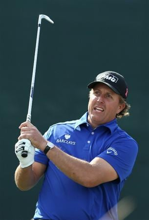 SCOTTSDALE, AZ - FEBRUARY 05:  Phil Mickelson hits a tee shot on the 16th hole during the second round of the Waste Management Phoenix Open at TPC Scottsdale on February 5, 2011 in Scottsdale, Arizona.  (Photo by Christian Petersen/Getty Images)