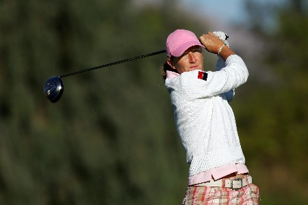 RANCHO MIRAGE, CALIFORNIA - MARCH 30:  Gwladys Nocera of France plays her tee shot at the par 4, 12th hole during the second round of the 2007 Kraft Nabisco Championship held at Mission Hills Country Club Club, on March 30, 2007, in Rancho Mirage, California, United States.  (Photo by David Cannon/Getty Images)