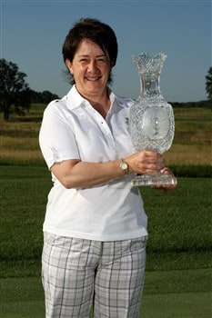 SUGAR GROVE, IL - JULY 14:  2009 Solheim Cup captain, Alison Nicholas of Team Europe, poses for a photo with the Solheim Cup during a preview event for the 2009 Solheim Cup at Rich Harvest Farms golf course on July 14, 2008 in Sugar Grove, Illinois.  (Photo by Jonathan Ferrey/Getty Images)