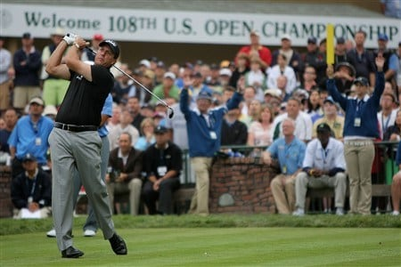 SAN DIEGO - JUNE 12:  Phil Mickelson tees off the first hole to start his first round of the 108th U.S. Open at the Torrey Pines Golf Course (South Course) on June 12, 2008 in San Diego, California.  (Photo by Doug Pensinger/Getty Images)