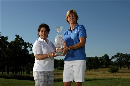 SUGAR GROVE, IL - JULY 14:  2009 Solheim Cup captains Beth Daniel (R) of Team USA and Alison Nicholas of Team Europe pose for a photo with the Solheim Cup during a preview event for the 2009 Solheim Cup at Rich Harvest Farms golf course on July 14, 2008 in Sugar Grove, Illinois.  (Photo by Jonathan Ferrey/Getty Images)