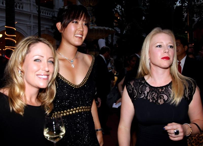 SINGAPORE - FEBRUARY 24:  Cristie Kerr, Michelle Wie and Morgan Pressel of the USA pictured during the Welcome Reception prior to the start of the HSBC Women's Champions at the Tanah Merah Country Club  on February 24, 2010 in Singapore.  (Photo by Ross Kinnaird/Getty Images)
